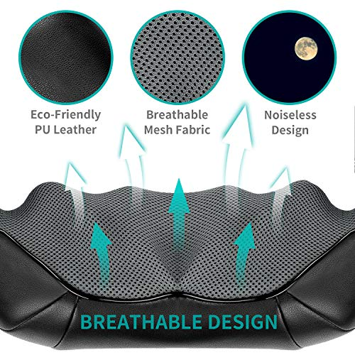 Nekteck Shiatsu Back Neck Massager, Deep Kneading Shoulder Massager with Heat, Waist Massage Pillow for Home Car and Office Use (Black)