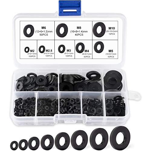 SuMille Unterlegscheiben Kunststoff Schwarz,Washer für Mechanische,Unterlegscheiben Sortiment M2 M2.5 M3 M4 M5 M6 M8 M10 Washer für Mechanische 500 Pcs