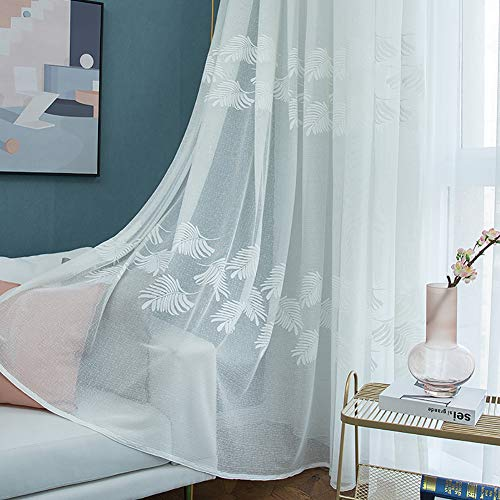 HM&DX Voile Gardinen ösen Jacquard Blätter,modern Dekorative Voile Vorhänge 1 Panel,tüll-vorhänge Schatten Wohnzimmer Schlafzimmer Weiß 350x270cm(138x106in)