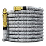 TITAN 150FT Garden Hose - All New Expandable Water Hose with Dual Latex Core 3/4' Solid Brass Fittings Expanding Extra Strength Fabric Flexible Hose with Jet Nozzle and Washers 15/25/50/75/100/150FT