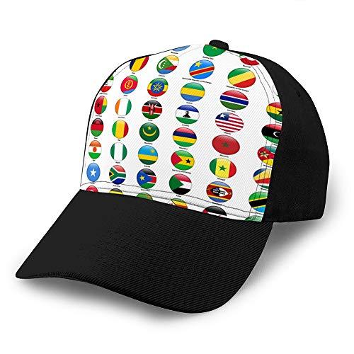 hyg03j4 2 Classic 100% Cotton Hat Caps Gorra de béisbol de Moda Unisex Conjunto Ajustable de Banderas de Todos los países africanos Gorra de béisbol de Mezclilla Personalizada Brillante