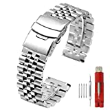Super Brushed & Polished 3D Solid Silver Stainless Steel Watch Bracelet Metal Band 24 mm Security Double Deployment Buckle