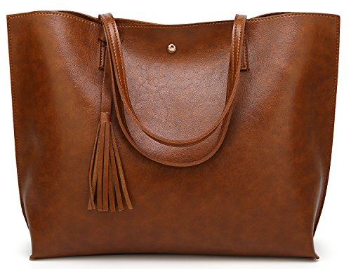 Damen Handtaschen Shopper PU Leder Messenger Bags Einkaufstasche Brown