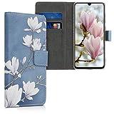 kwmobile Funda Compatible con Samsung Galaxy A70 - Carcasa de Cuero sintético Magnolias - con Tarjetero