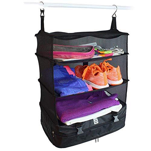 Ekrfxh Housewares Portable Luggage System Suitcase Organizer Large Packable Hanging Travel Shelves & Folding Packing Cube Organizer Closet Bedroom (Black)