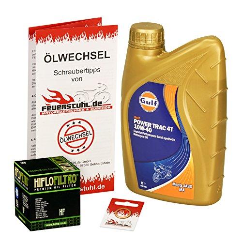 Gulf 10W-40 Öl + HiFlo Ölfilter für Yamaha MT 125, 14-15, RE11 - Ölwechselset inkl. Motoröl, Filter, Dichtring