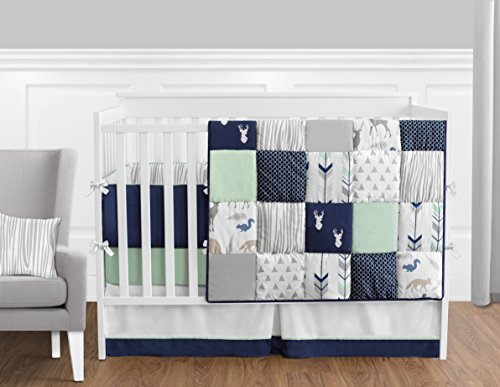 Navy Blue, Mint and Grey Woodsy Deer Boys Baby Bedding 9 Piece Crib Set with Bumper