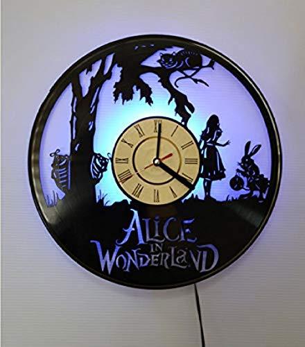 Creativo LED Reloj de Cuarzo silencioso Vinilo CD Grabar Reloj de Pared Decoración Alice Dream Wonderland Vinilo Regalo Novedad Reloj