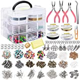 EuTengHao Jewelry Making Supplies Kit Jewelry Making Tools Kit Includes Jewelry Charms Findings Beads Wire for Bracelet and Pearl Beads Spacer Beads Jewelry Pliers for Necklace Earring Bracelet Making