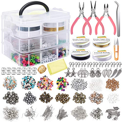 EuTengHao Jewelry Making Supplies Kit Includes Assorted Beads,Jewelry Charms Findings,Pearl,Spacer Beads Wire Cord Pliers Caliper for Necklace Earring Bracelet Making Repair,Great Gift for All People