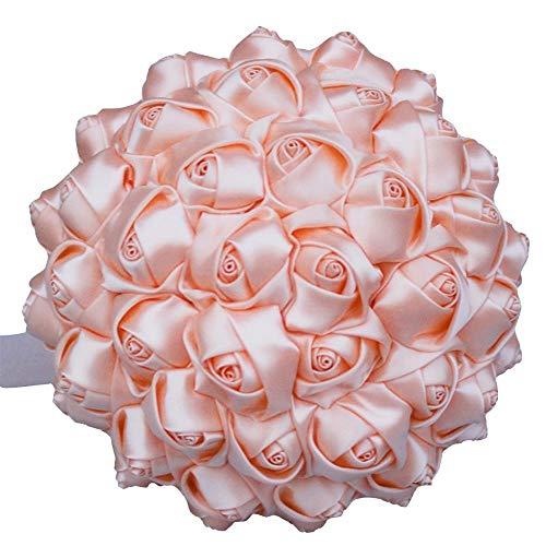 HGDD Künstliche Blumen 1 stück einfache Creme Elfenbein Seide brautsträuße künstliche Blumen Brautjungfer/Braut blumenstrauß Dekoration (Color : 18cm Shell pink)