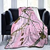 FJTP Flannel Throw Blanket for Couch/Bed Cozy Pink Realtree Camo Warm and Fluffy Blanket for Home Sofa and Bedroom