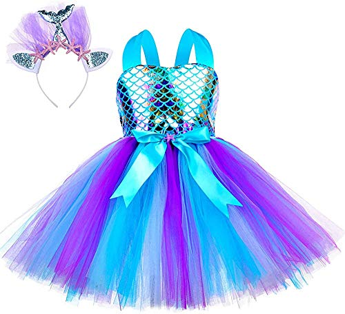Jurebecia Vestido Sirenita Niñas Princesa Vestidos Niñas Sirenita Disfraz Fiesta de Cumpleaños Mermaid Vestido de Tutú Outfit con Accesorio Azul 10-11 Años