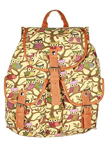 Leefrei Casual Canvas Damen Herren Rucksack Daypack Backpacks Freizeitrucksack Schulrucksack Schultasche (Kluge Eule2)