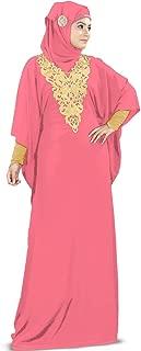 Womens Kaftan Gold Embroidered Fancy Abaya Evening Gown Muslim Maxi Dress KF-003