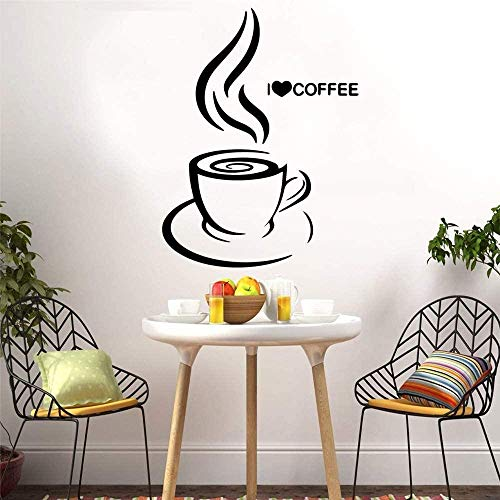Ik hou van koffie woonkamer decoratie bedrijf bedrijf kantoor decoratieve muurschildering 28 x 37 cm kunst citaat muur sticker, verwijderbare doe-het-zelf ambachten, PVC vinyl materiaal muursticker, home decor waterdicht behang wallposte