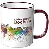 WANDKINGS® Tasse, Schriftzug Guten Morgen Bochum! mit Skyline - Bordeaux