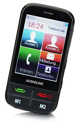 Audioline 903145 MT 1000 Touchscreen Handy (7,11 cm (2,8 Zoll) Farbdisplay, 0,3 Megapixel Kamera, Radio, Bluetooth, Micro-USB) mit Notruftaste schwarz