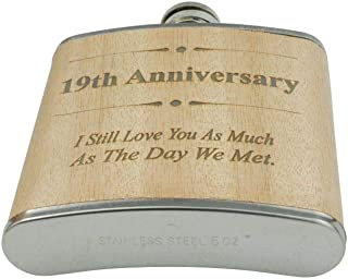 19th Anniversary Hip Flask 19 Year Anniversary Gift For Him