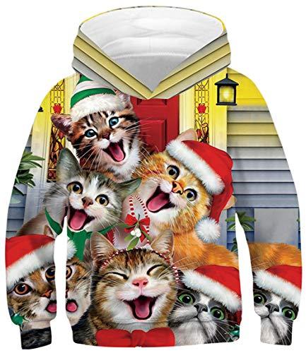 Ocean Plus Jungen Lange Ärmel Sweatshirt Tiere Digitaldruck Pullover mit Kapuzen Freizeit Sport Kinder Galaxie Kapuzenpullover (XL (Körpergröße: 155-160cm), Weihnachtsmützen Katzen)