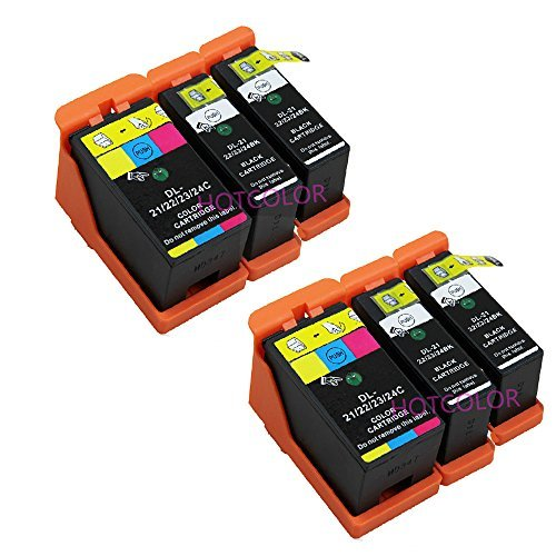 HOTCOLOR 6-Pack(4 Black 2Color) Compatible Ink Cartridge for Dell Series 21 22 23 24 for Dell P513w P713w V313 V313w V515w V715w All-in-One Printers