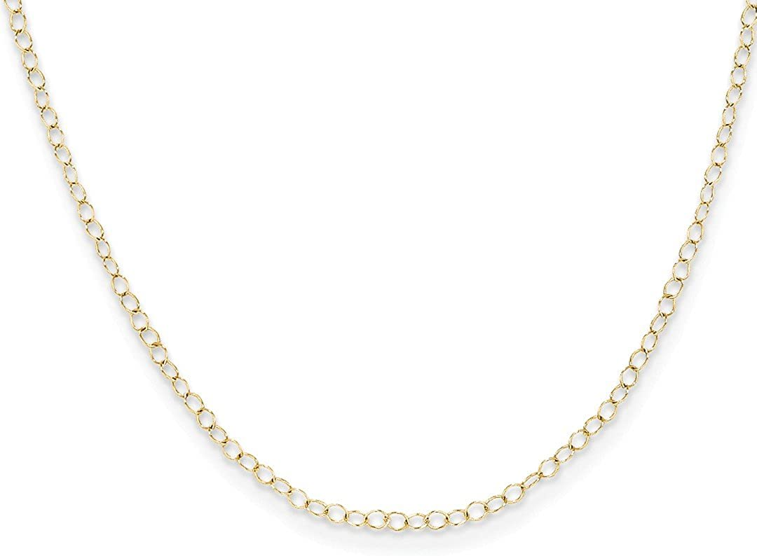 14k Yellow Gold Link Cable Chain Necklace 15 Inch Pendant Charm Fine Jewelry For Women Gifts For Her