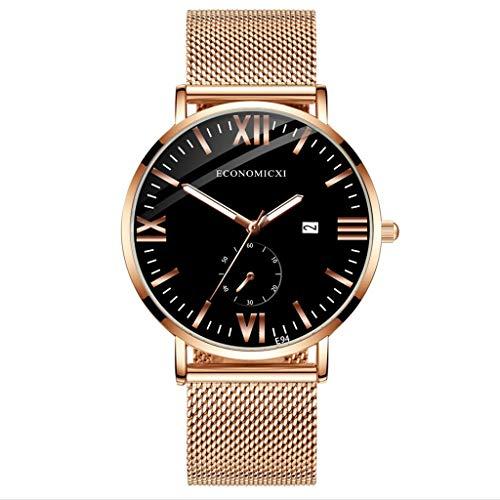Quartz horloge heren polshorloge, mode eenvoudige roestvrij staal met lichtgevende kleine wijzerplaat heren kwartshorloge Evansamp