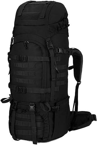 XYW-0006 Sacoche Militaire Tactique Sac à Dos Comhommedo pour Alpinisme extérieur Rain Cover Noir et Blanc - avec Tige de Trekking Ultra légère en Titane élastique X2