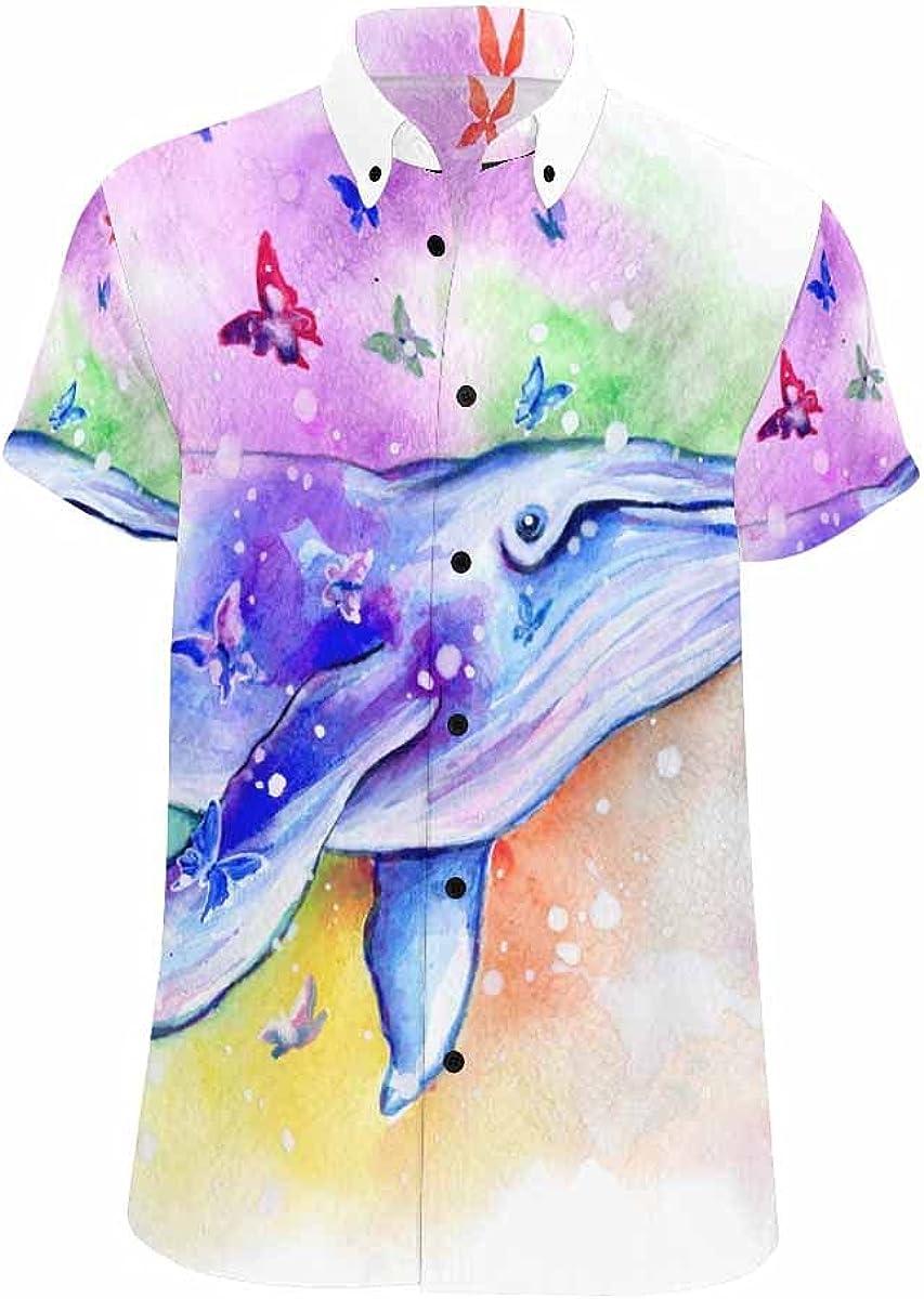 InterestPrint Blue Starfish Seahorse All Places Printed Summer Hawaiian Relax Casual Shirt for Men