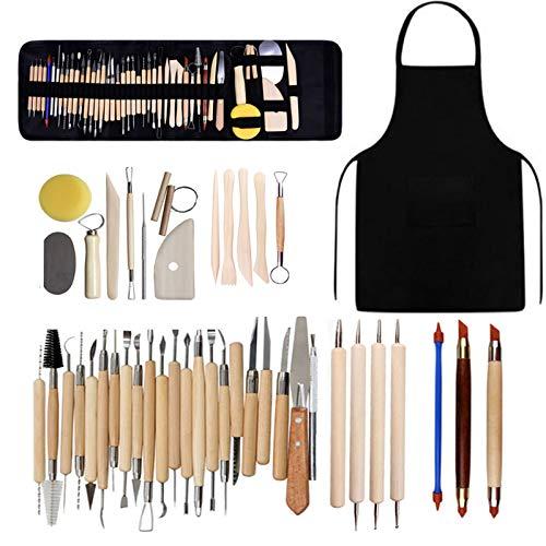 Set di utensili per ceramica in argilla polimerica, kit di strumenti in ceramica per modellare il legno e l argilla, con borsa di stoccaggio, grembiule per pittura su roccia, argilla
