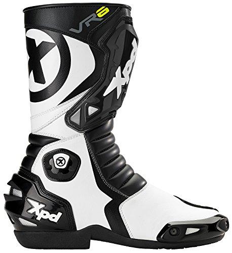 XPD Botas para Motociclista, Negro/Blanco, 38