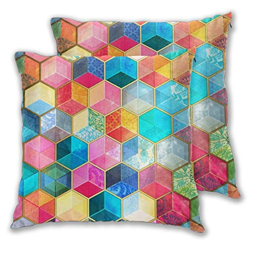 erjing Pack of 2 Soft Decorative Square Throw Pillow Covers, Crystal Bohemian Honeycomb Cubes Colorful Hexagon Pattern Cushion Cases Pillowcases for Sofa Bedroom Car,20 x 20 Inch