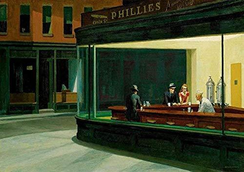 KELDOG Puzzles Puzzle de Madera 1000 Piezas - Edward Hopper: Nighthawks, desafiante Juego de Rompecabezas de Bricolaje, Arte Moderno para decoración del hogar
