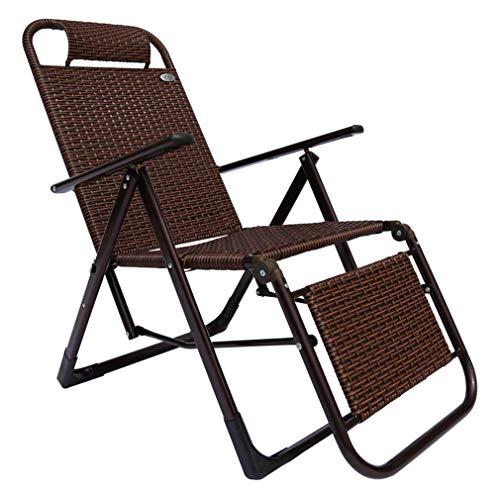 BBLXS Klappbare Gartenstühle, Rattan-Sonnenliegen Im Freien, Einzelner Strandkorb Mit 7 Gängen Und Rutschfesten Füßen, Maximale Belastung 260 Kg