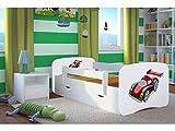Lit d'Enfant Complet 70x140 80x160 80x180 sommier tiroir barrierères pour Filles garçons lit Simple - Blanc - Voiture de Course - 70 x 140 cm (sans Matelas)