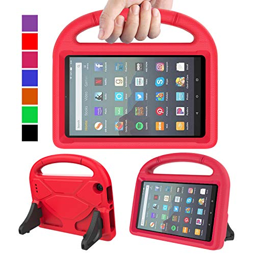 """MENZO Kids Case for All-New Fire 7 Tablet (9th Generation - 2019 Release), Light Weight Shockproof Handle Stand Kids Friendly Case for Amazon Fire 7 2019 and 2017 (7"""" Display), Red"""