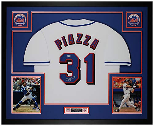 Mike Piazza Autographed White New York Mets Jersey - Beautifully Matted and Framed - Hand Signed By Piazza and Certified Authentic by Beckett - Includes Certificate of Authenticity