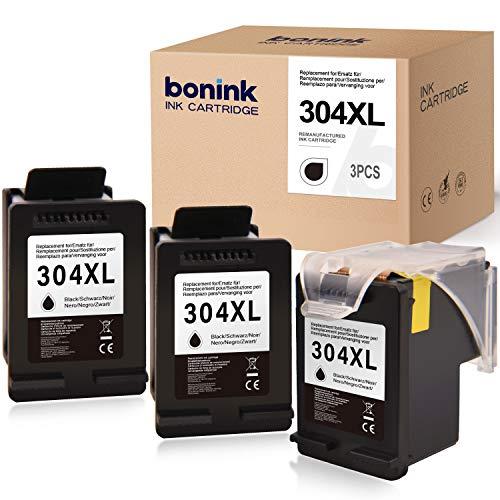 BONINK 3 Compatible para HP 304 XL 304XL Cartuchos de Impresora Negros para HP Deskjet 2630 2620 2622 2632 2633 2634 3720 3730 Envy 5010 5030 5020 5030 5032 3750 3760 3762 Multipack (3 x Negro)