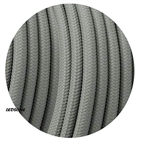 Cable retro redondo de 3 núcleos, color gris trenzado, lámpara de iluminación flexible vintage