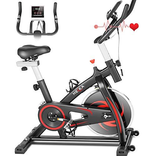 Heka Heimtrainer Fahrrad, Heimtrainer für Zuhause Schwungrad 15 kg, Indoor Cycling Bike, Fitnessbike Mit Herzfrequenzmonitor APP-Funktion, Verstellbarer Widerstand & LCD-Display, max. Gewicht 150 kg