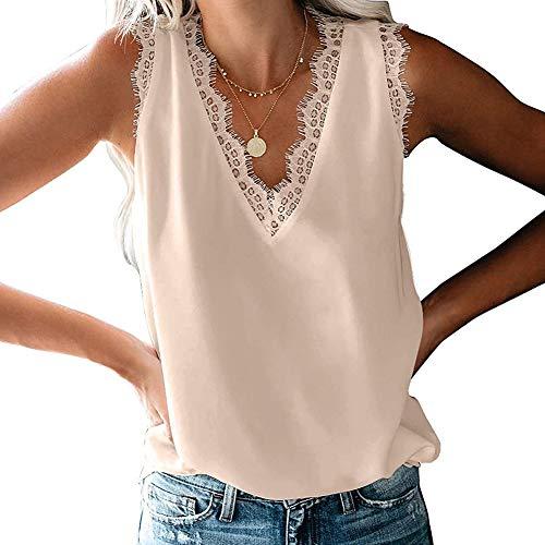Damska bluzka z koronką, bez rękawów, na lato, na plażę, dekolt w kształcie litery V, luźna kamizelka