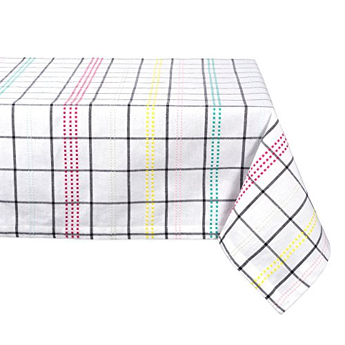 "Color Pop Plaid Square Tablecloth, 100% Cotton with 1/2"" Hem (60x104"" - Seats 8 to 10)"