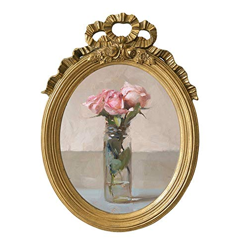 Vintage Picture Frame Oval Antique Table Top wandmontage fotolijst met glazen pui for Decor van het Huis (Color : Gold, Size : 46x34cm)