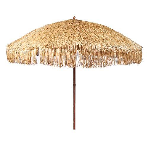 Bayside21 Hula Thatched Tiki Umbrella Natural Color 6' 8' & 9' Options (8ft, Natural)