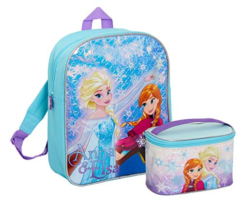 Disney® Frozen - Zaino da bambina, con astuccio abbinato, 2 pezzi, grande bagagli per bambini, scuola materna, Blu (Blu) - MNCK13957