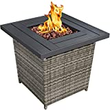 Best Choice Products 28in Fire Pit Table 50,000 BTU Outdoor Wicker Patio Propane Gas w/Faux Wood Tabletop, Lava Rocks, Cover, Hideaway Tank Holder, Lid – Ash Gray