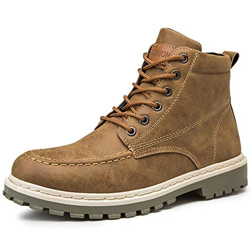 Gym Bota for Hombre Tobillo De Arranque En Estilo De Cuero Sintético Simple Color Puro Británico (Color : Brown, Size : 42EU)