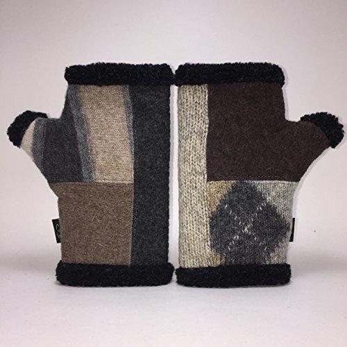 Baabaazuzu Black, Beige & Gray Patterned Women's Upcycled Wool Arctic Fingerless Gloves