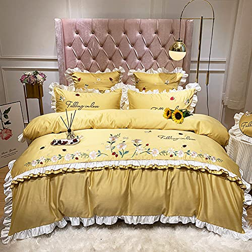 Exlcellexngce Double Bedding Duvet Set,Cotton embroidery down quilt cover, 60 can be washed silk single double bed linen four sets, princess silk slide kid bed supplies B_1.8m bed(4pcs)