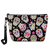 spArt Sugar Skull Cosmetic Pouch Travel Cluth Makeup Bag Pencil Case Purse with Wristlet...